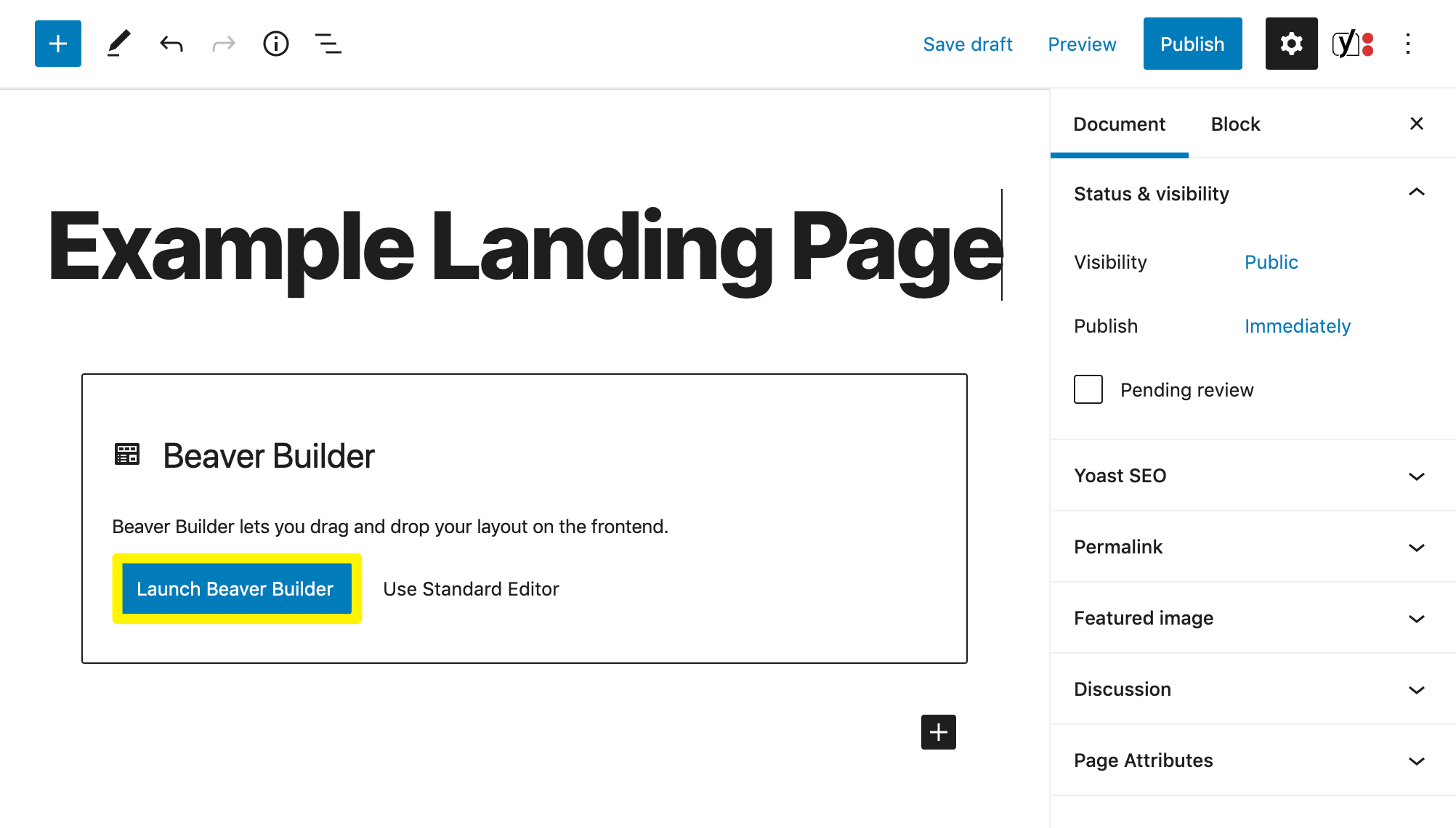 Launching Beaver Builder to create a new landing page.