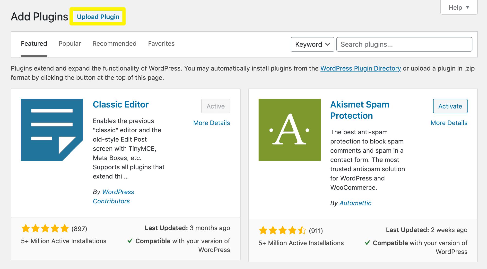 The Upload Plugin button in WordPress.
