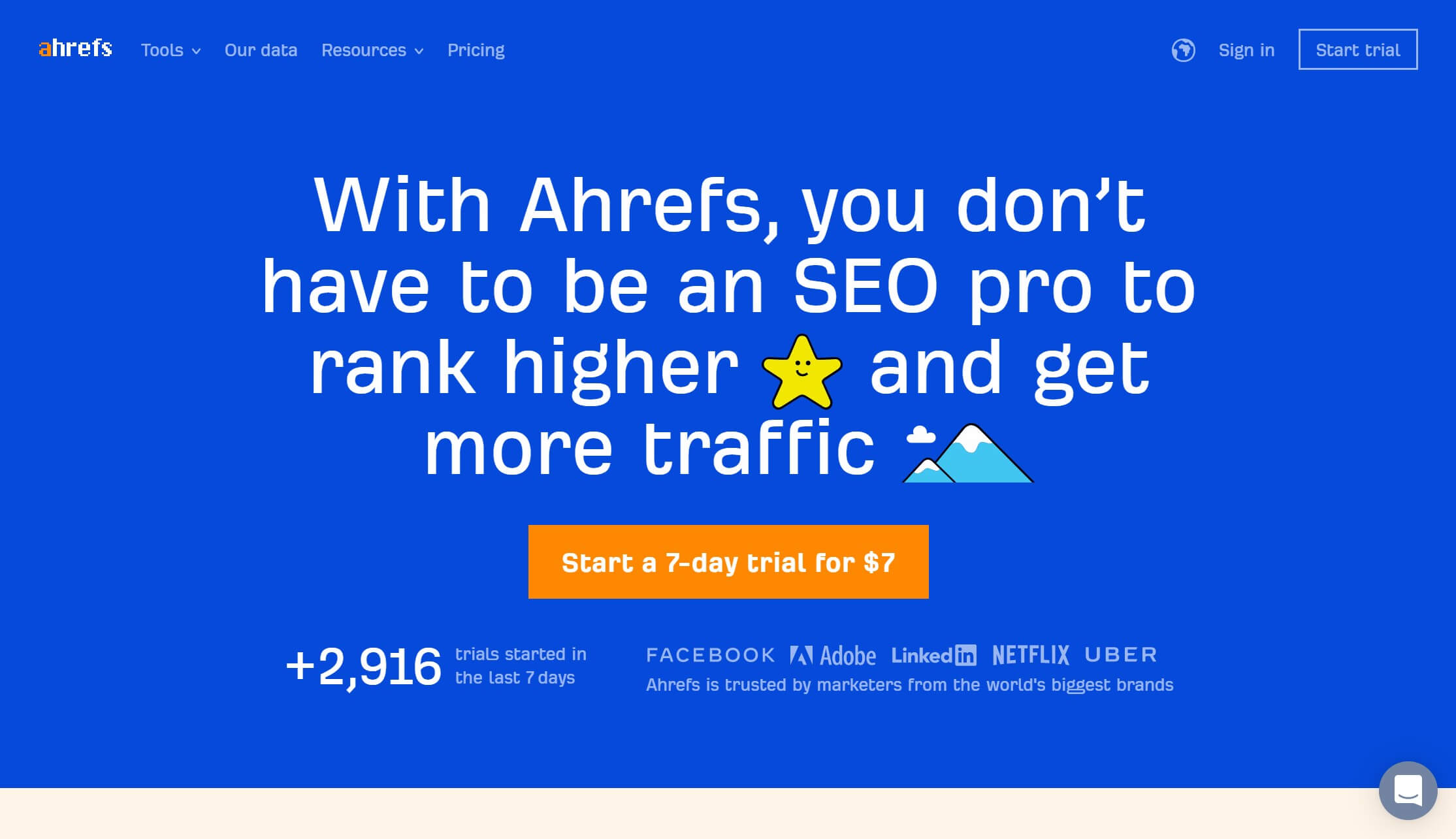 The Ahrefs home page.