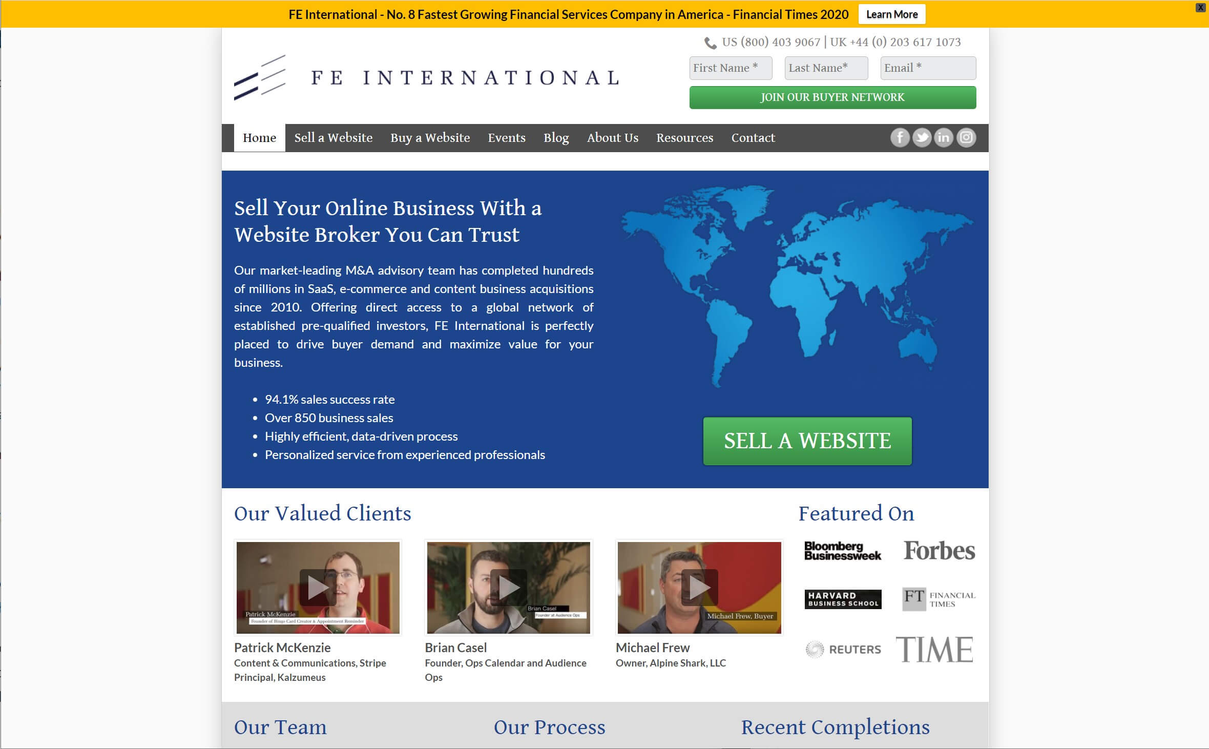 The FE International marketplace for selling blogs and online businesses.