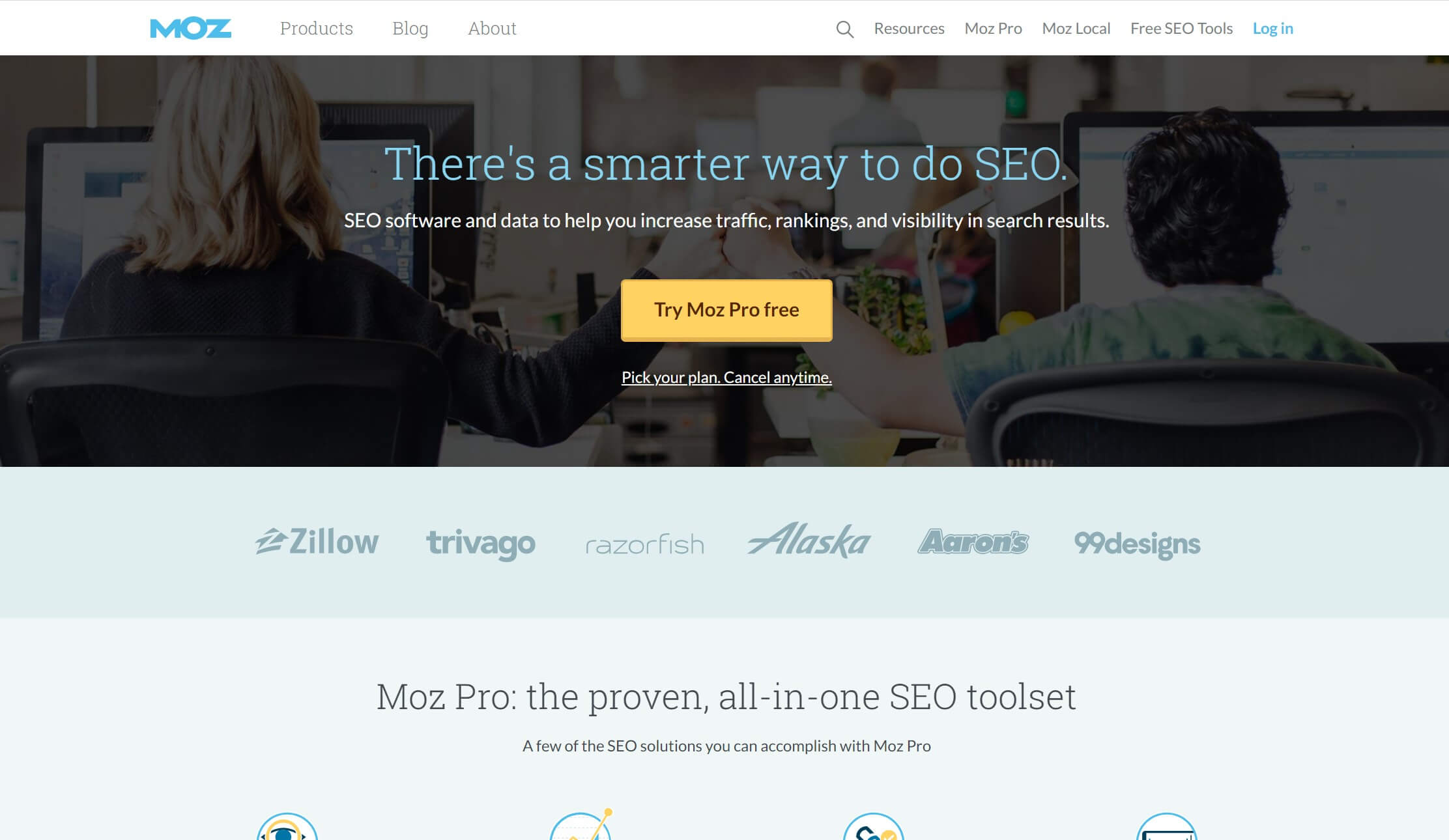 The Moz Pro home page.