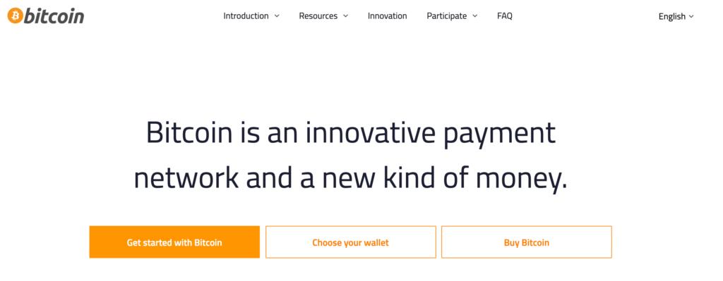 The Bitcoin website.