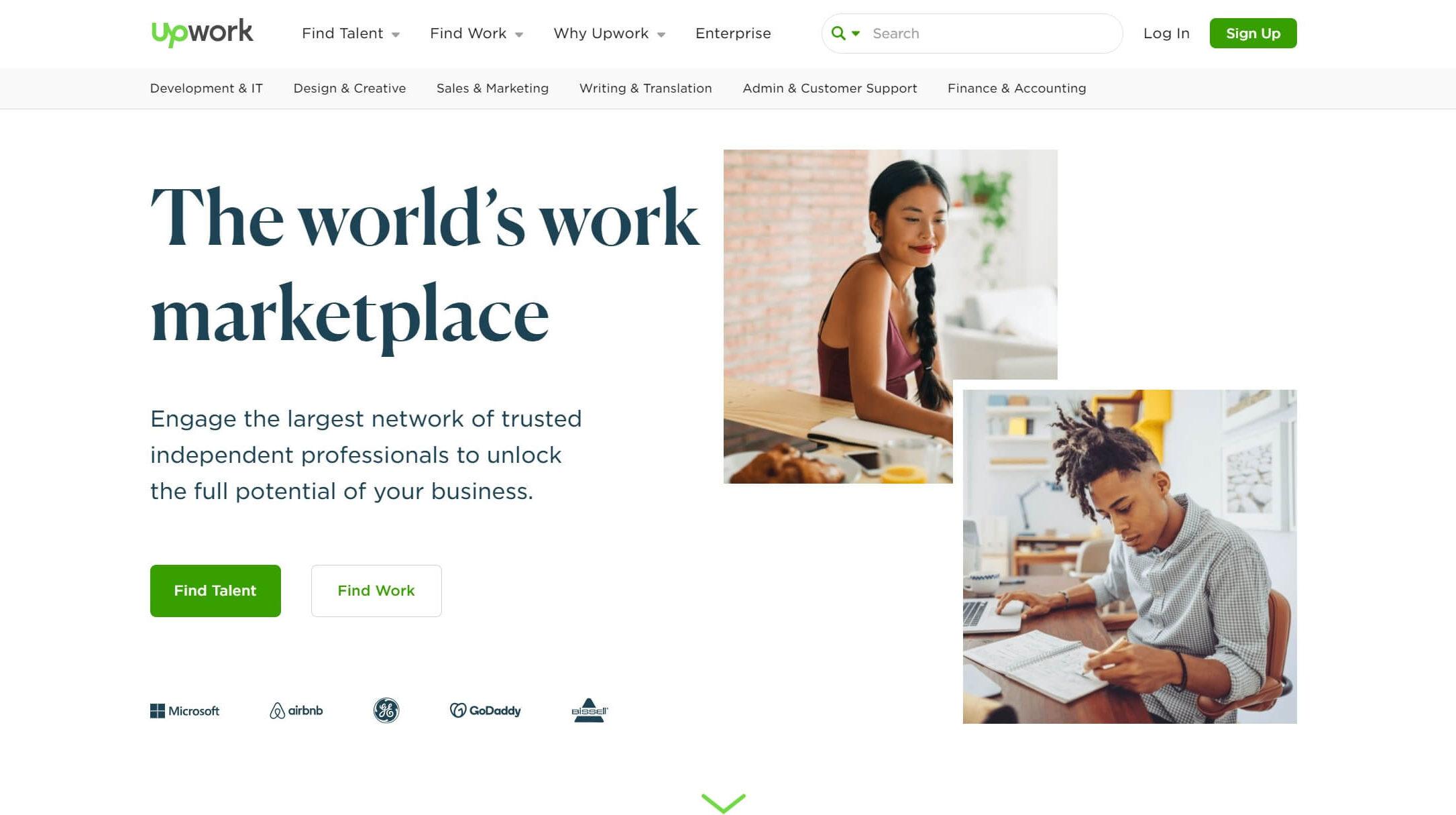 The Upwork freelance marketplace.