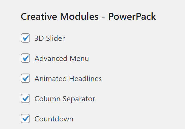 A few PowerPack module options to disable, including the 3D Slider and the Countdown options.