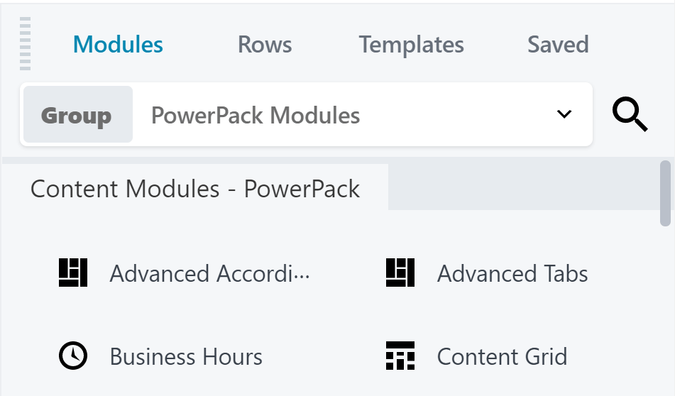 A small selection of the various PowerPack modules available to users.