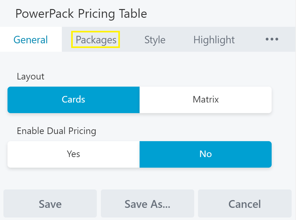 A few of the options for the PowerPack Pricing Table module.