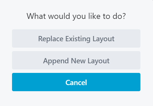An dialogue window asking if the user wants to replace the existing layout, a crucial step for a WooCommerce single product page builder.