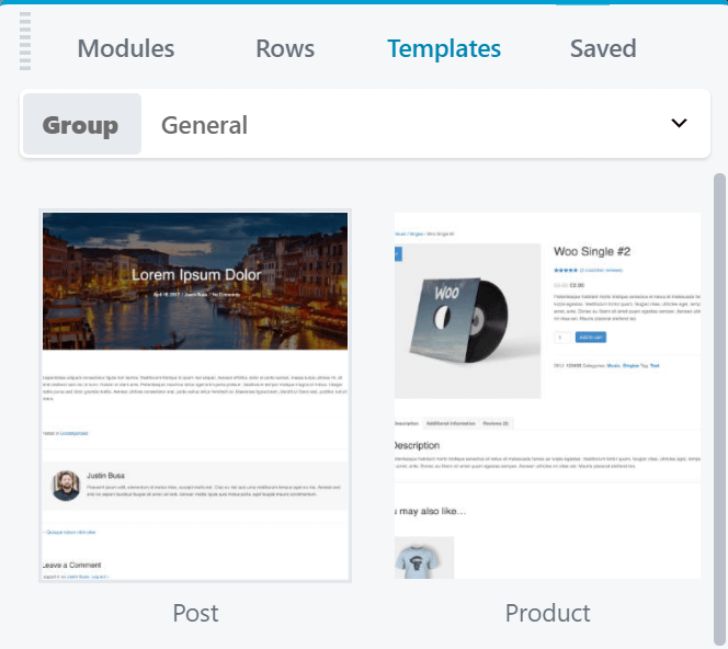 A close up of the template options available through Beaver Themer.