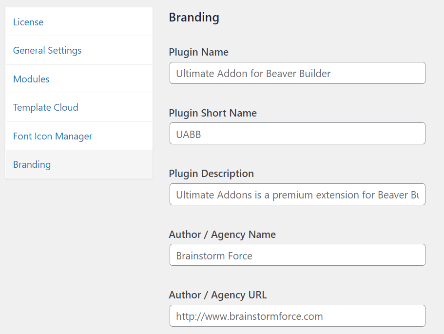 A few of the options for personalized branding found with the Ultimate Addons for Beaver Builder.