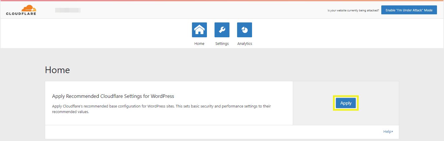 Applying Cloudflare's optimized WordPress settings.