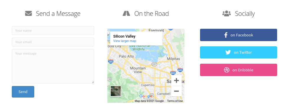 A map on a business contact page.