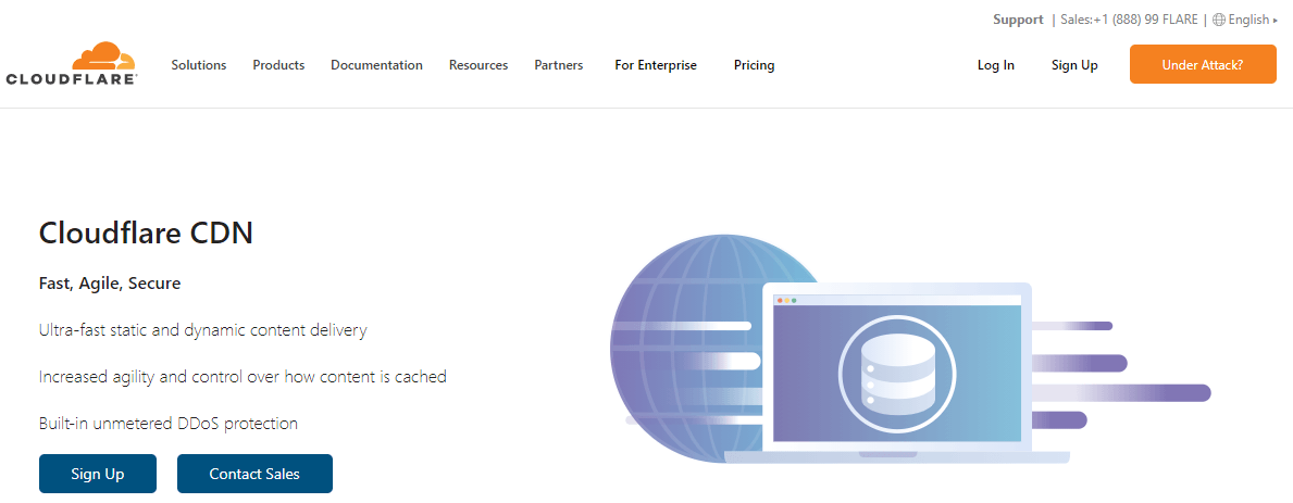The Cloudflare CDN homepage.