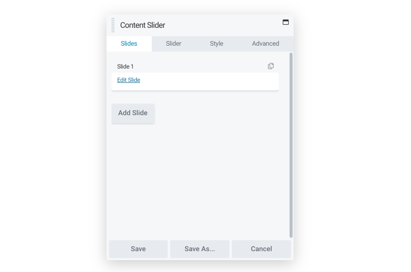The Beaver Builder content slider module.