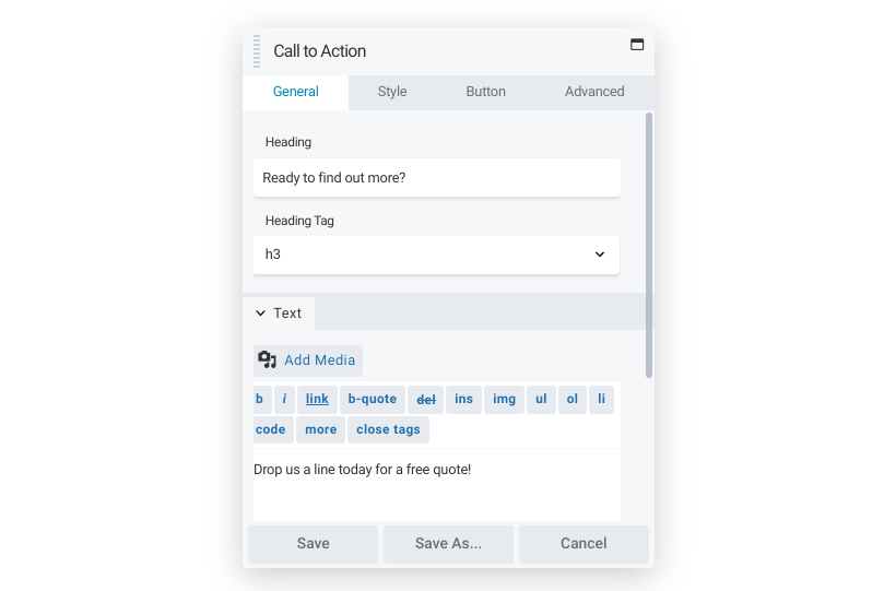The Beaver Builder call to action module.