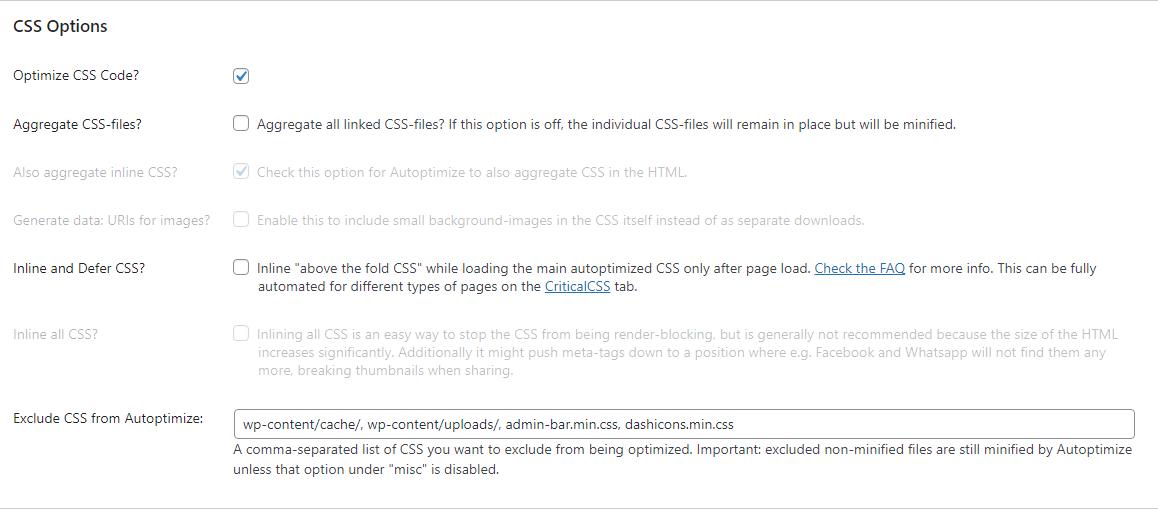 CSS optimization settings in Autoptomize.