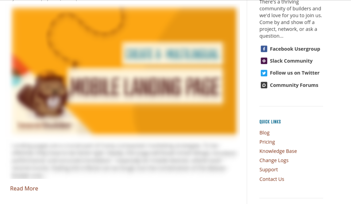The sidebar of the Beaver Builder website.