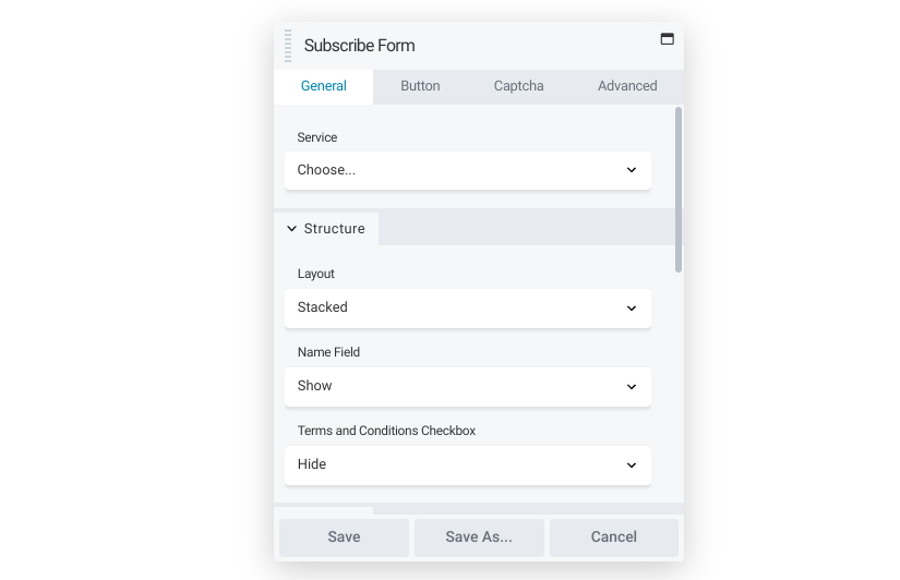 The Beaver Builder subscribe form module.