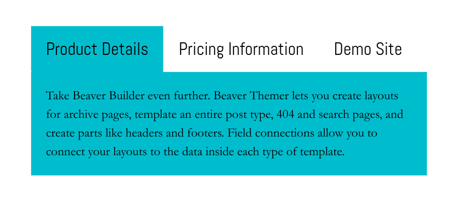 An example of the Beaver Builder tabs module on a website.