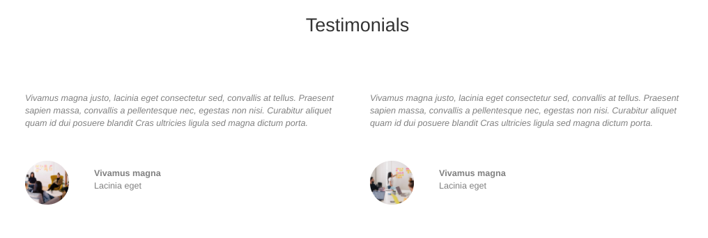 An example of testimonials on a demo site.