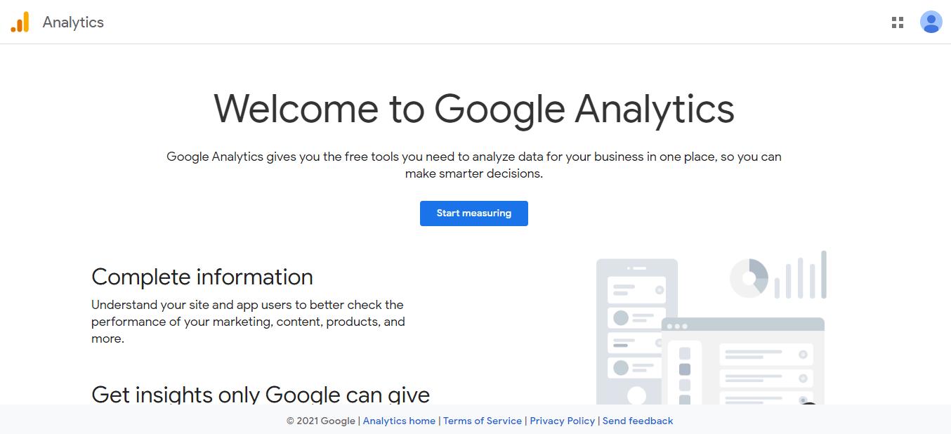 The Google Analytics homepage.