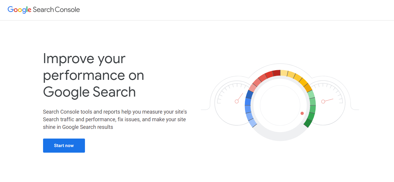 The Google Search Console homepage.