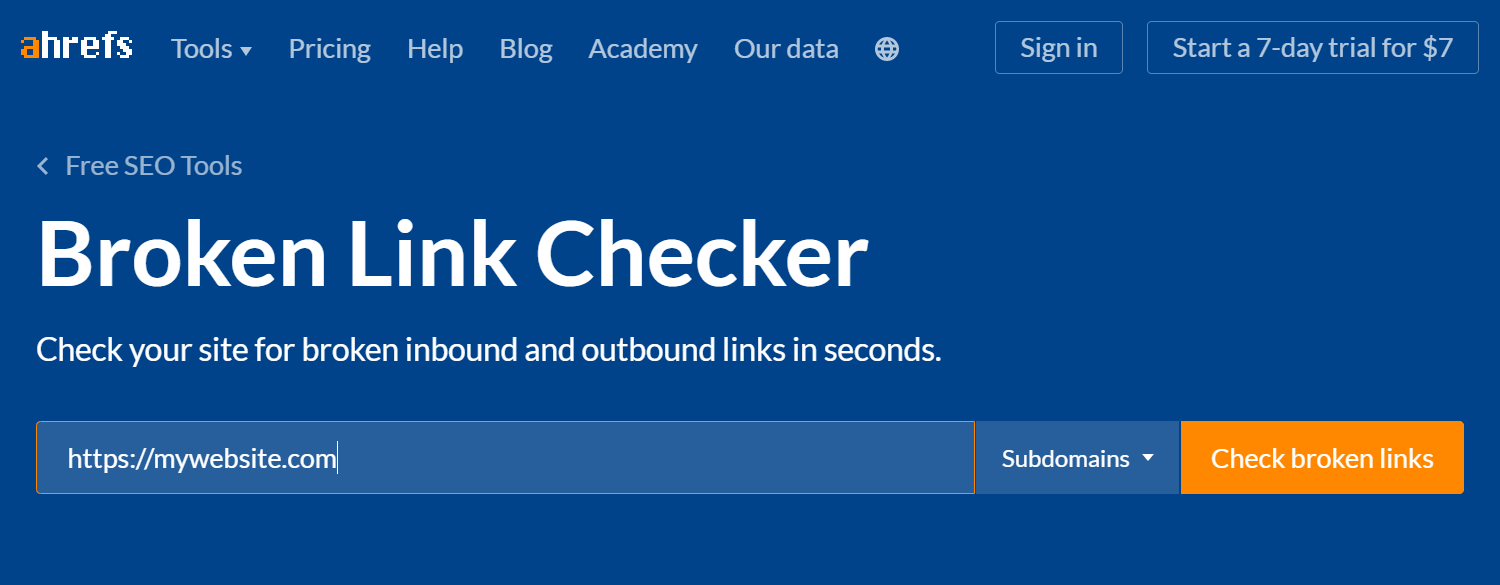 A tool for checking broken links, an essential part of a website launch checklist.