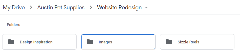 Organizing assets in Google Drive when onboarding web design clients.