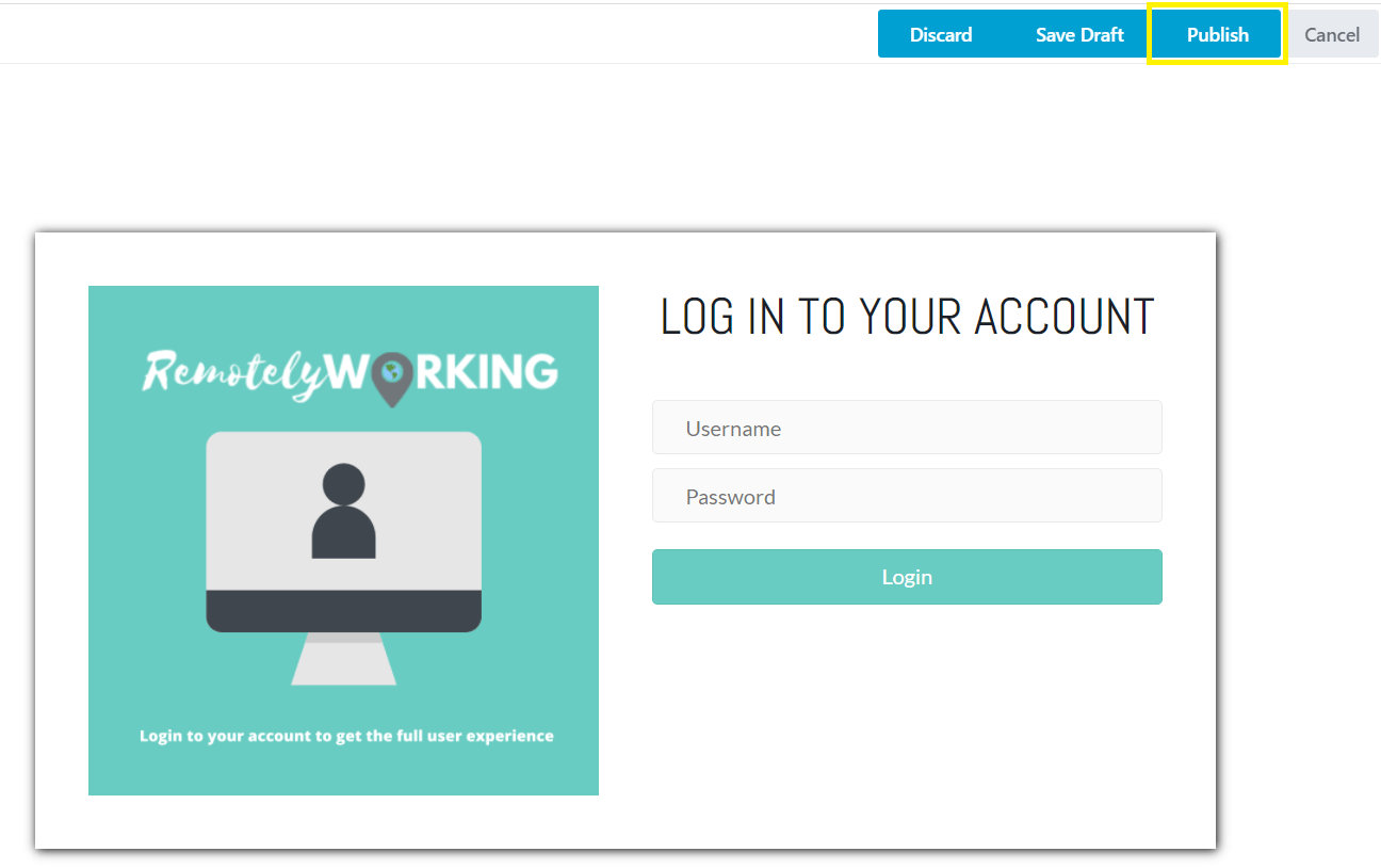 Publishing your new custom login page