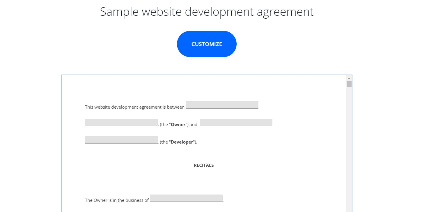 An example of a we development contract