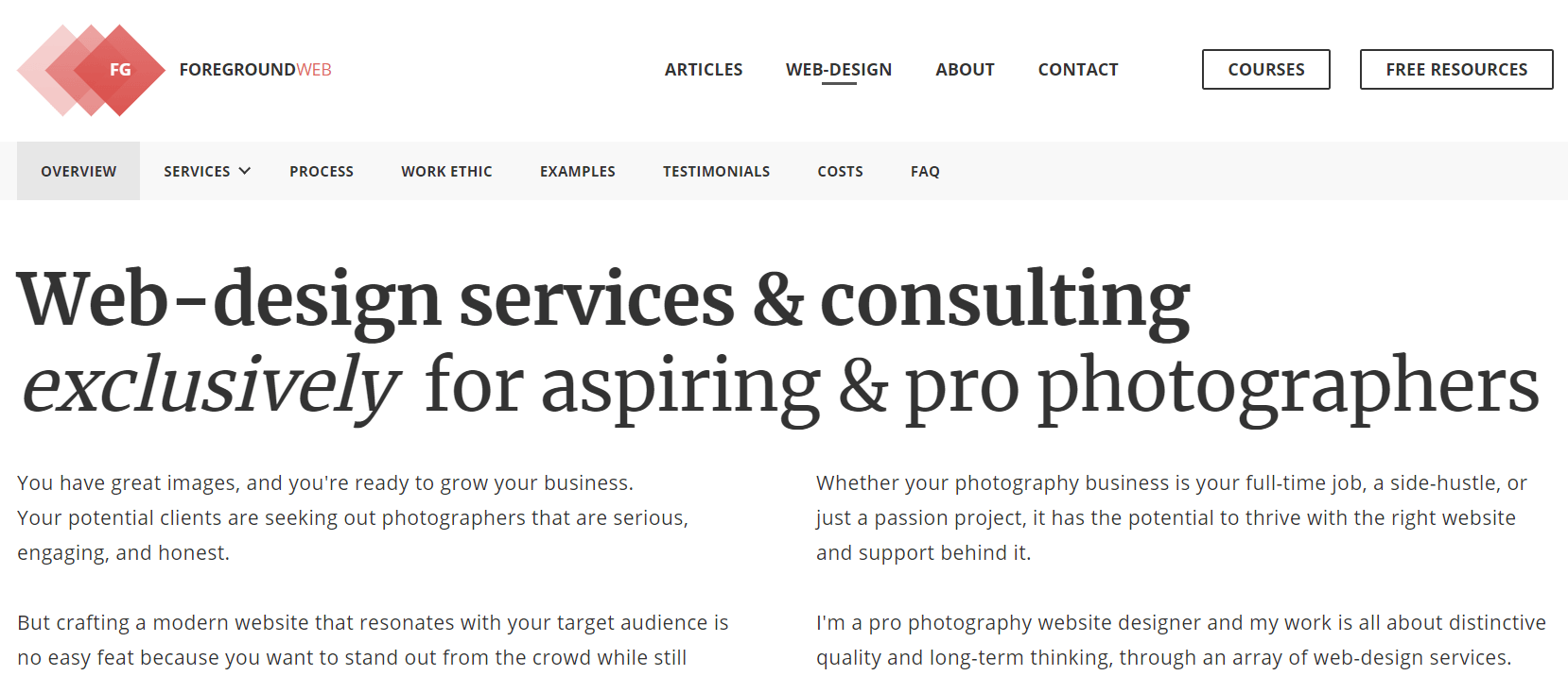 Screenshot of the homepage of a web design service website specializing in photography websites