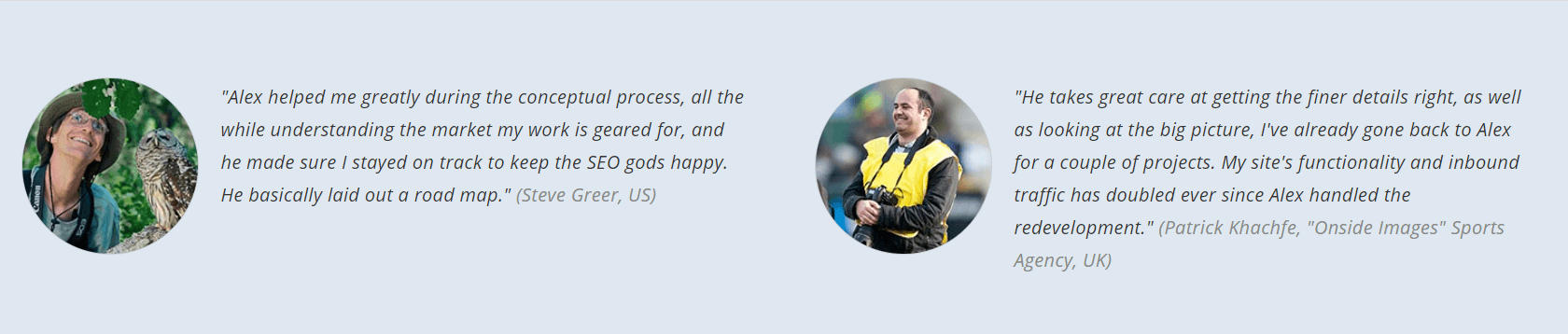 Screenshot of customer testimonials on a website