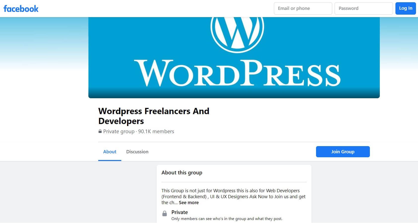 The Facebook 'WordPress Freelancers And Developers' group page