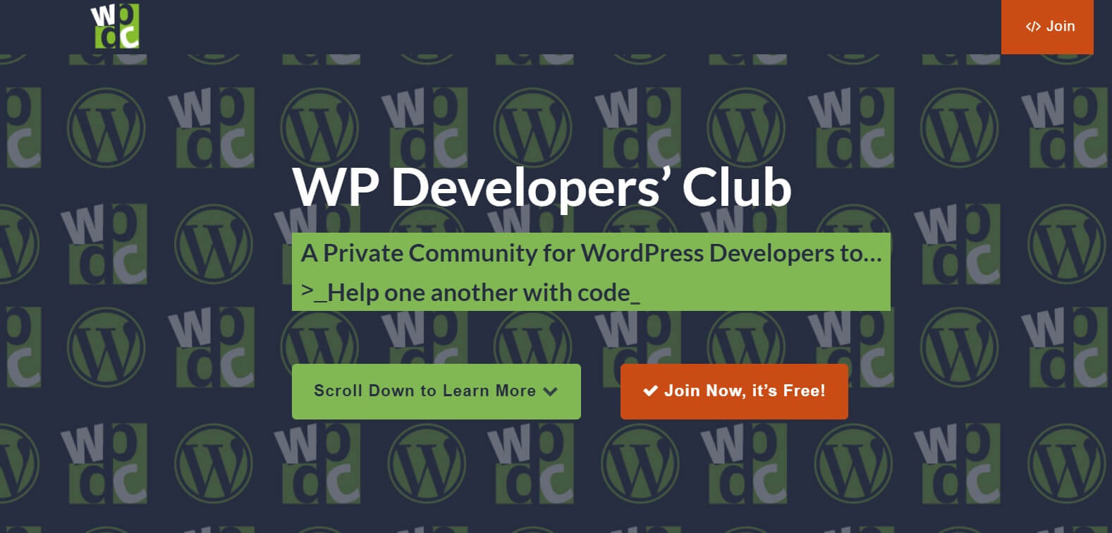 The WP Developers' Club website homepage