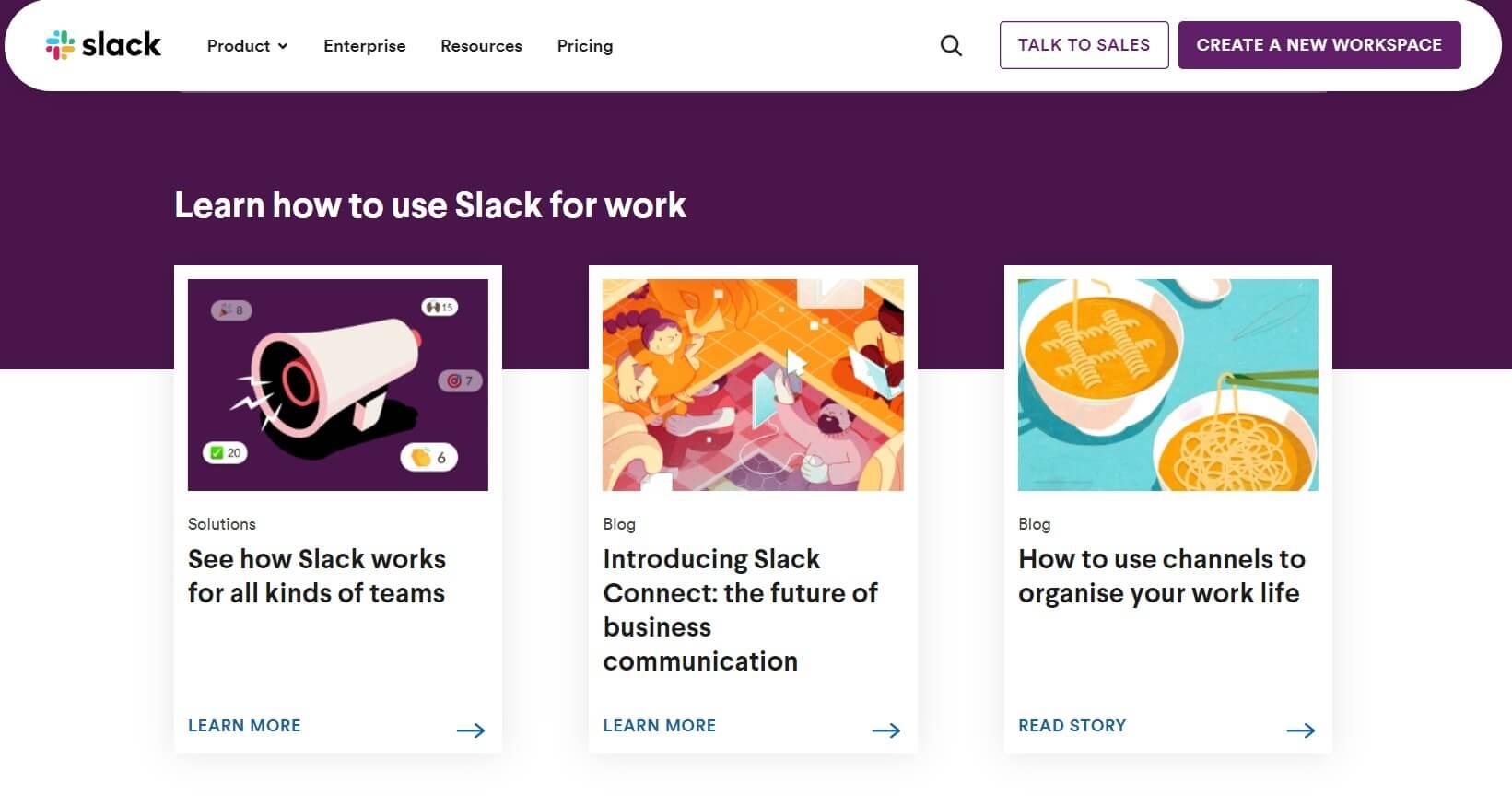 A screenshot of the Slack homepage.