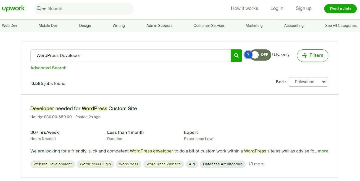 The Upwork job search page