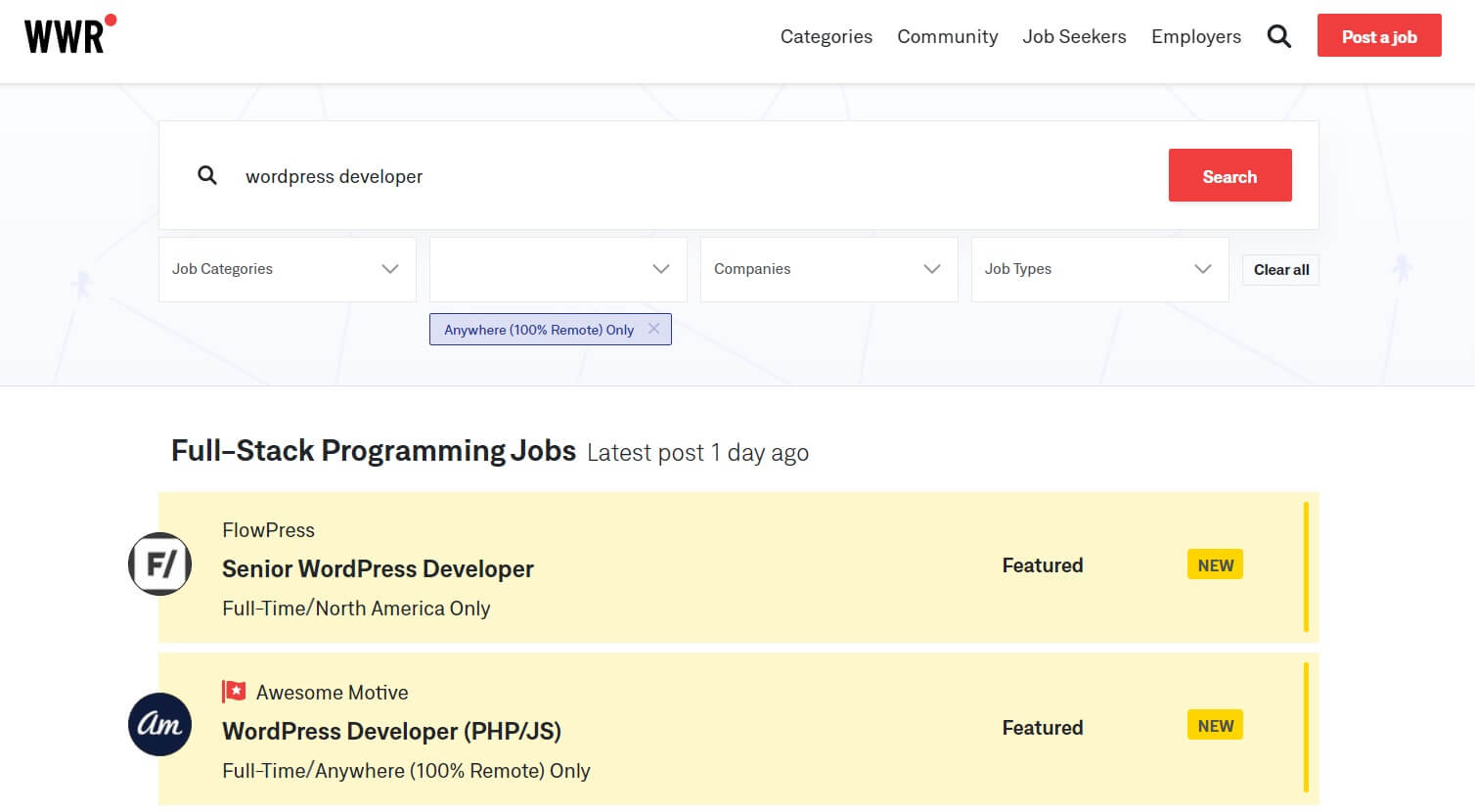 The WeWorkRemotely job search page