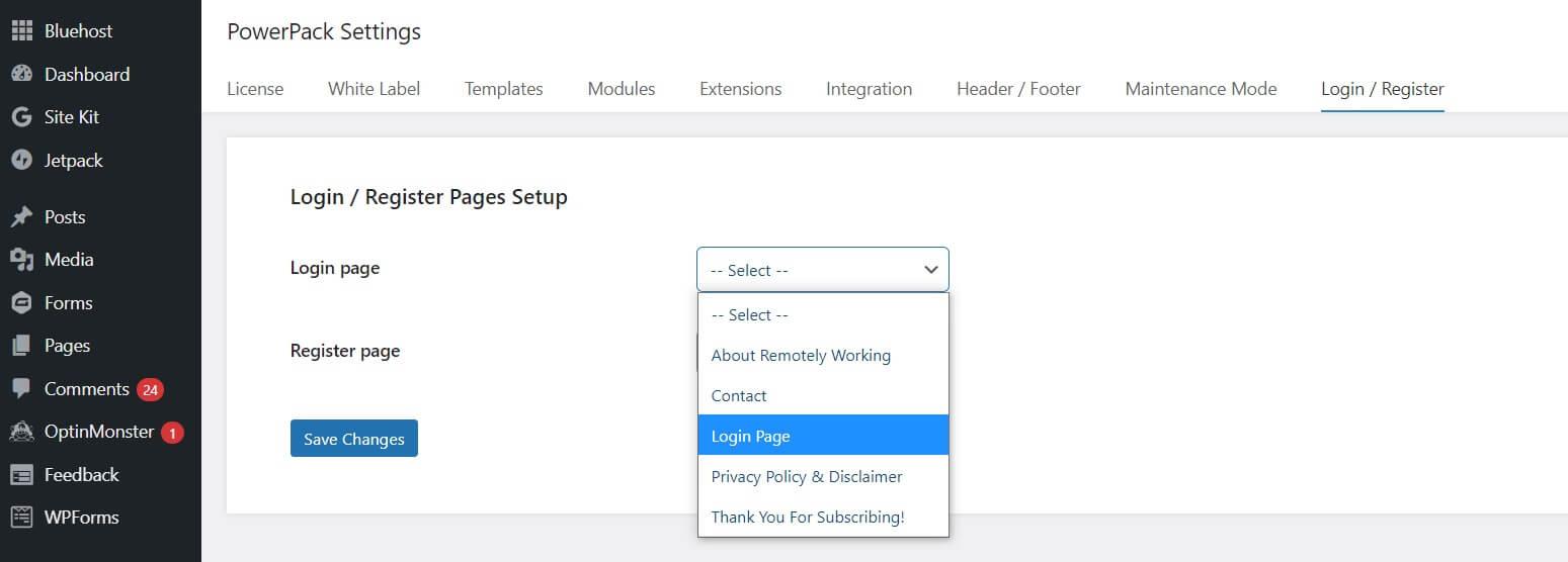 A screenshot of how to setup custom WordPress login page in PowerPack settings