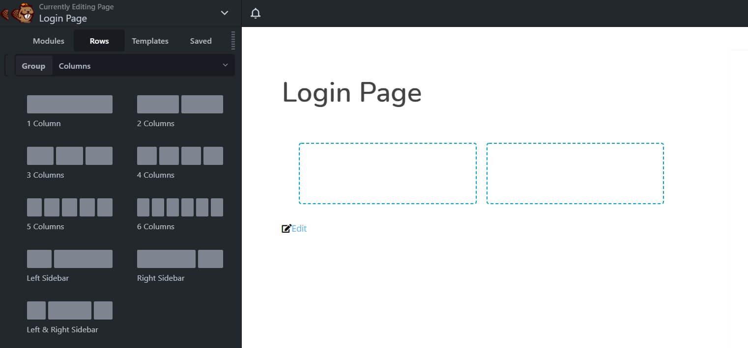 Screenshot of Beaver Builder rows function