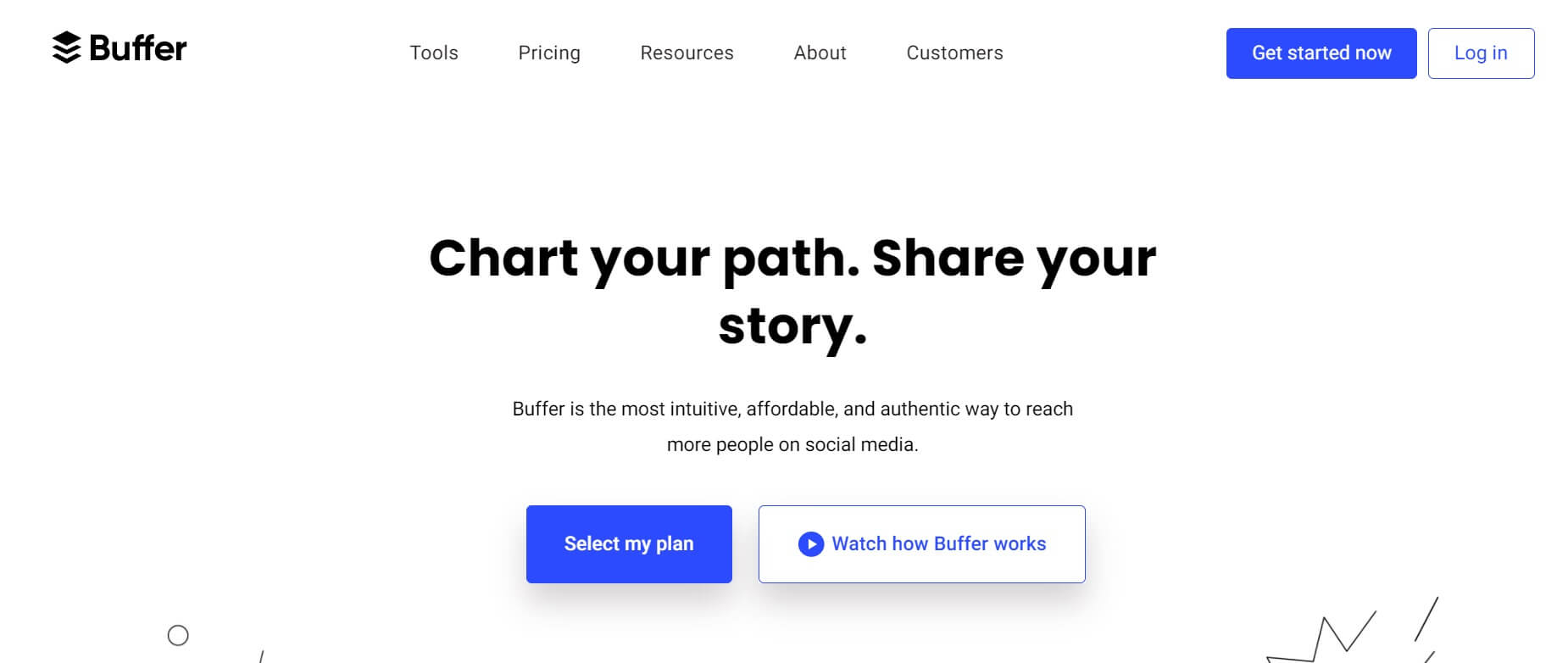 A screenshot of the Buffer homepage.