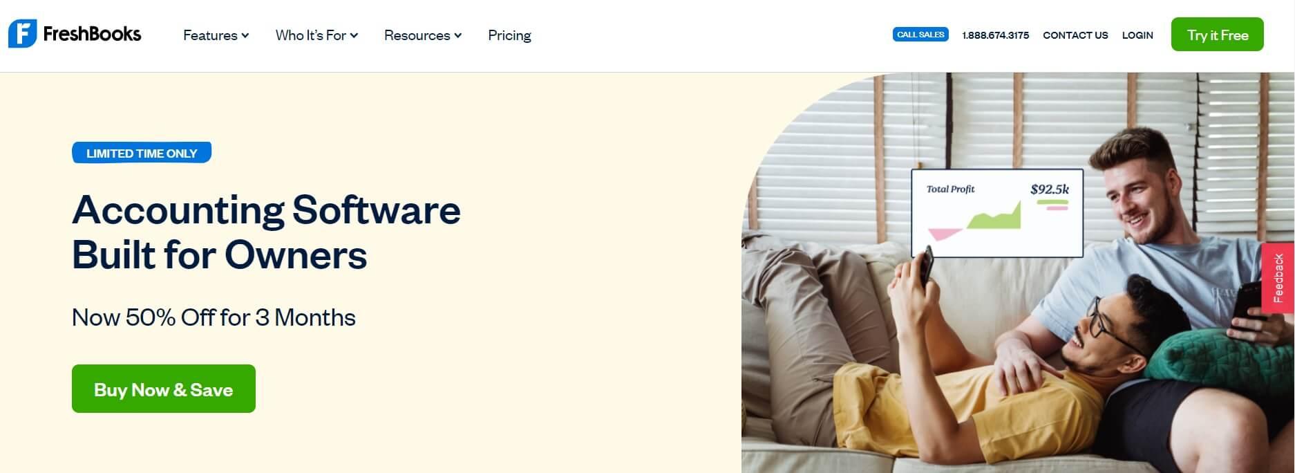 A screenshot of the Freshbooks homepage