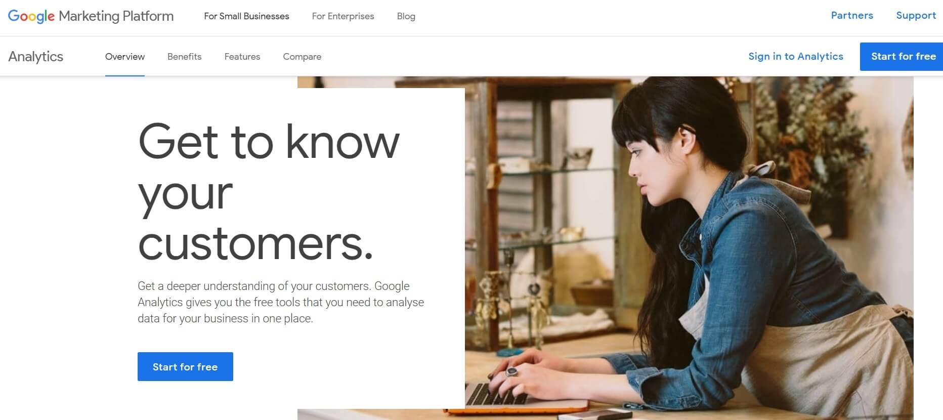 A screenshot of the Google Analytics homepage.