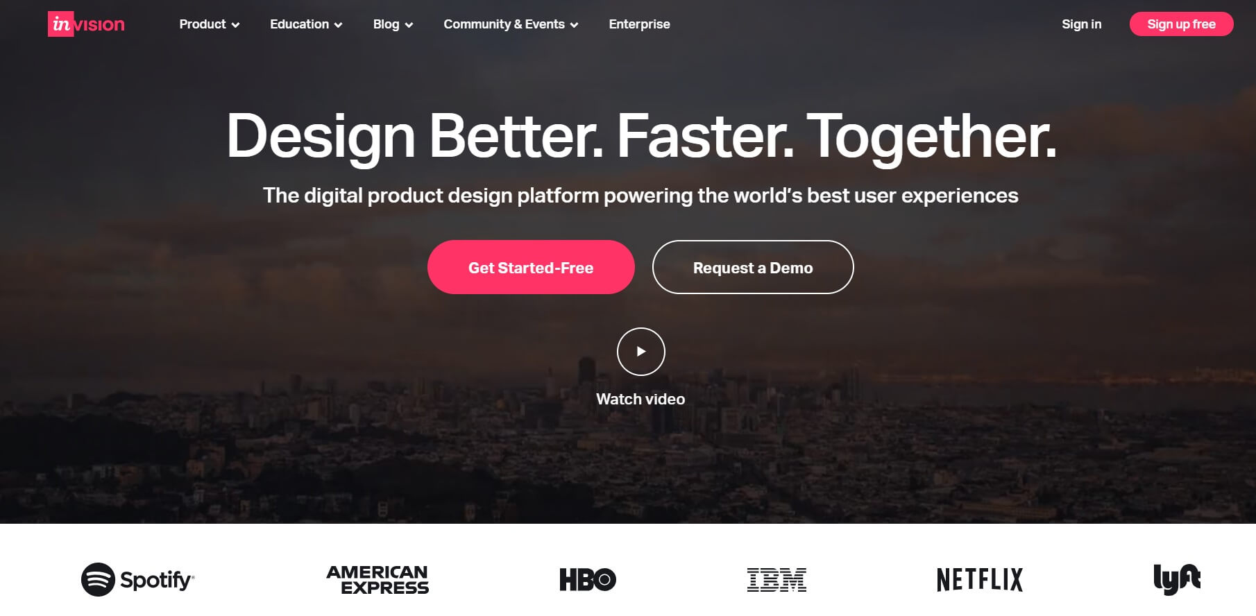 A screenshot of the InVision homepage.