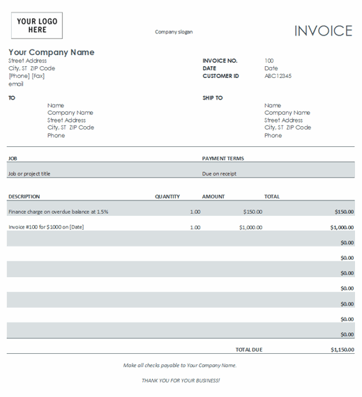 An example Microsoft Office invoice template.