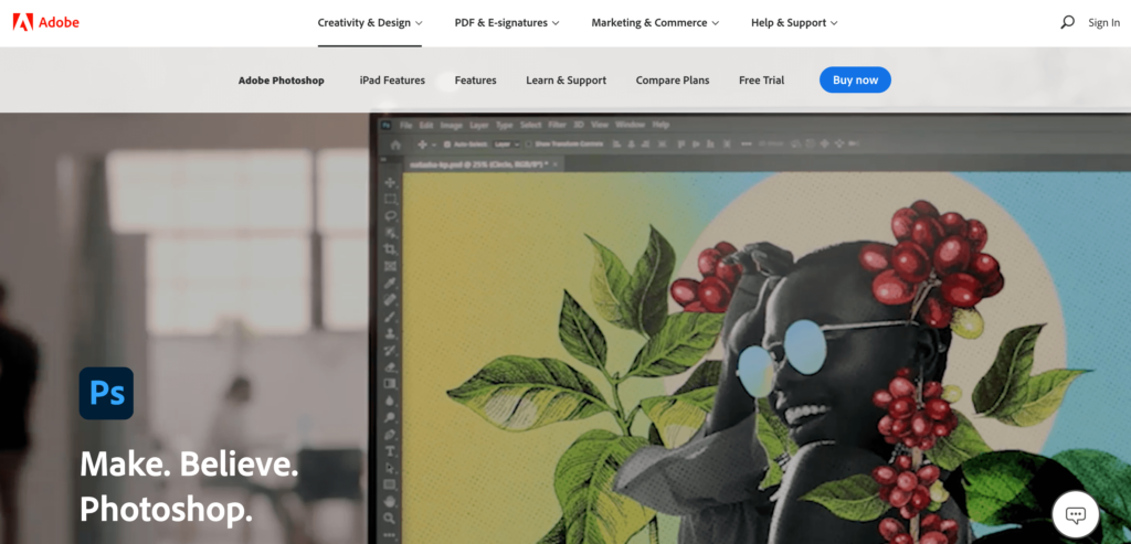 The Adobe Photoshop homepage.