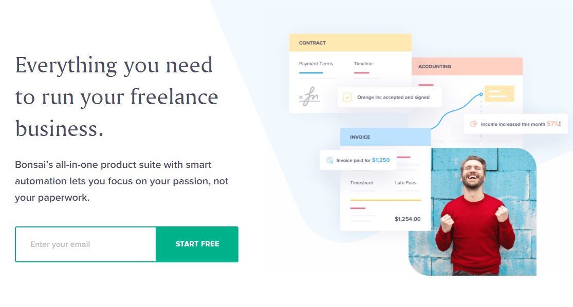 The homepage for Bonsai, a contract service.