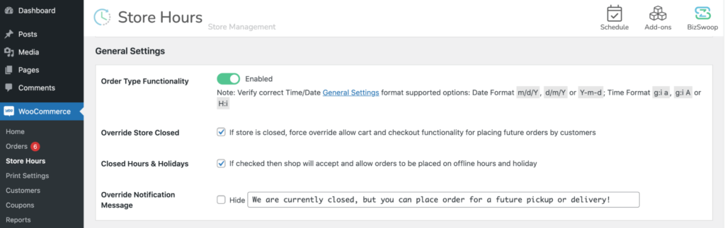 Closed Hours and Holidays checkbox.