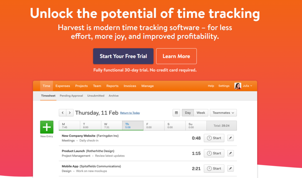 The Harvest homepage. This time-tracking app is one of the best tools for freelance web designers.