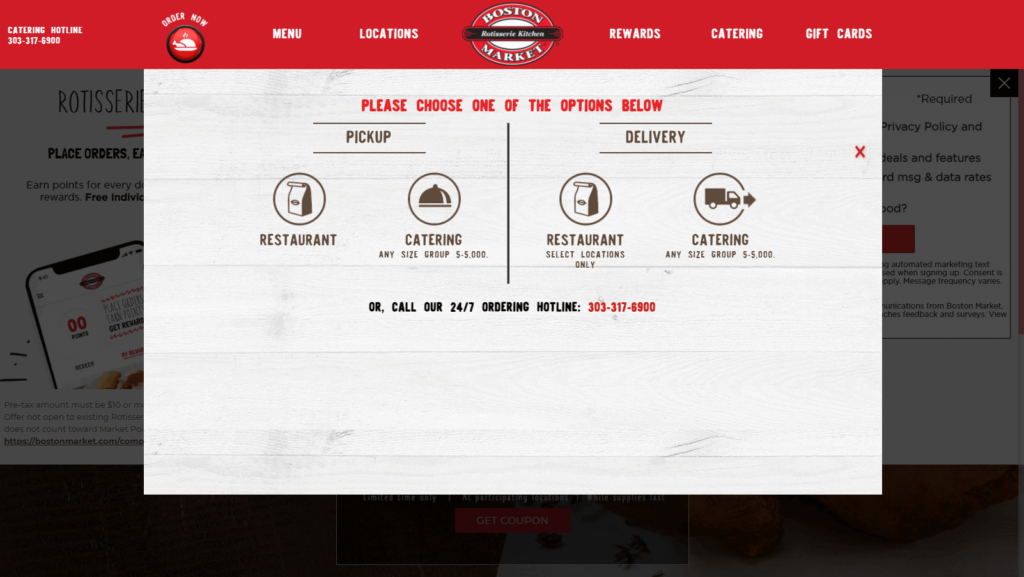An example of an online ordering form.