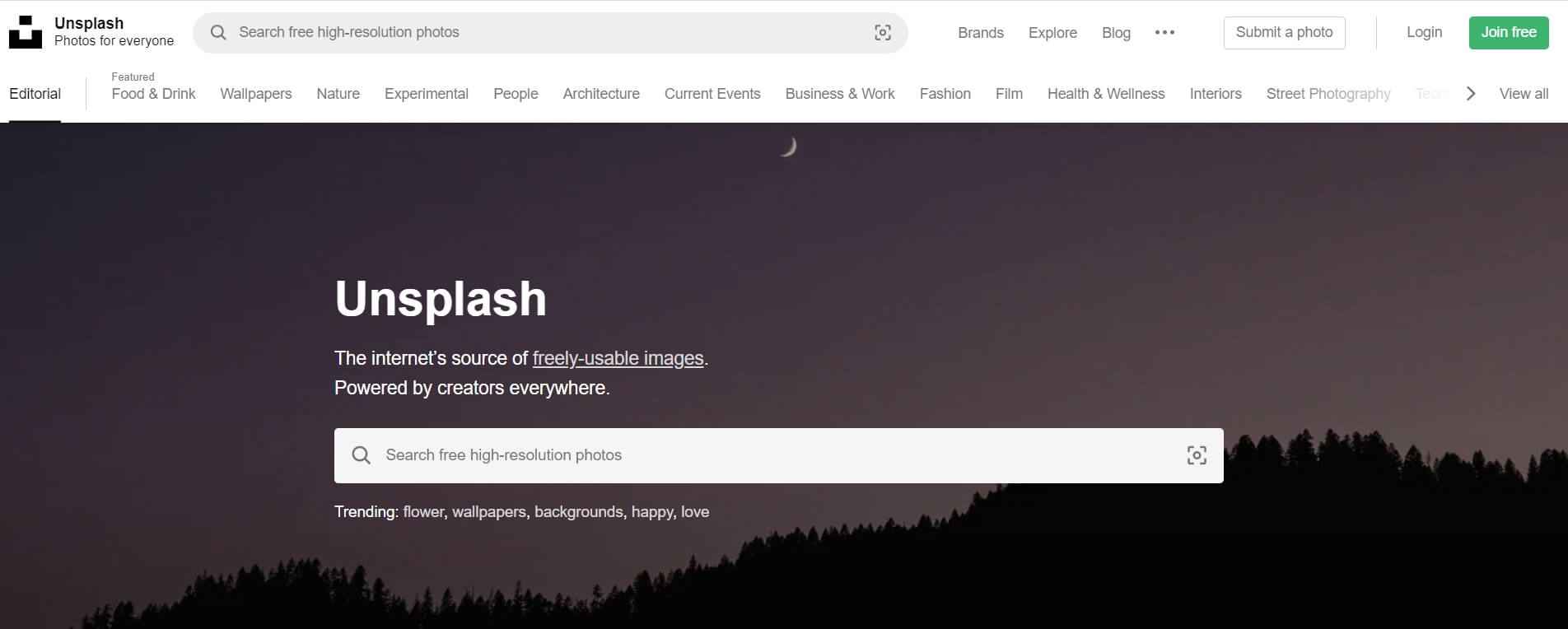 A screenshot of the Unsplash homepage.