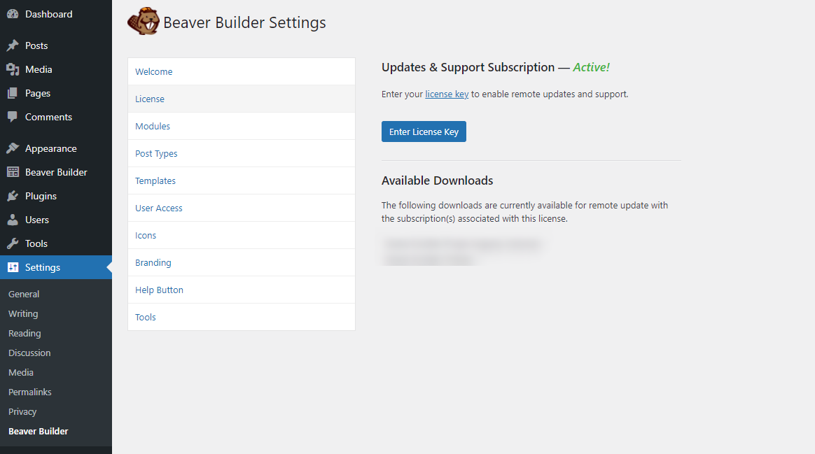 The Beaver Builder license page.